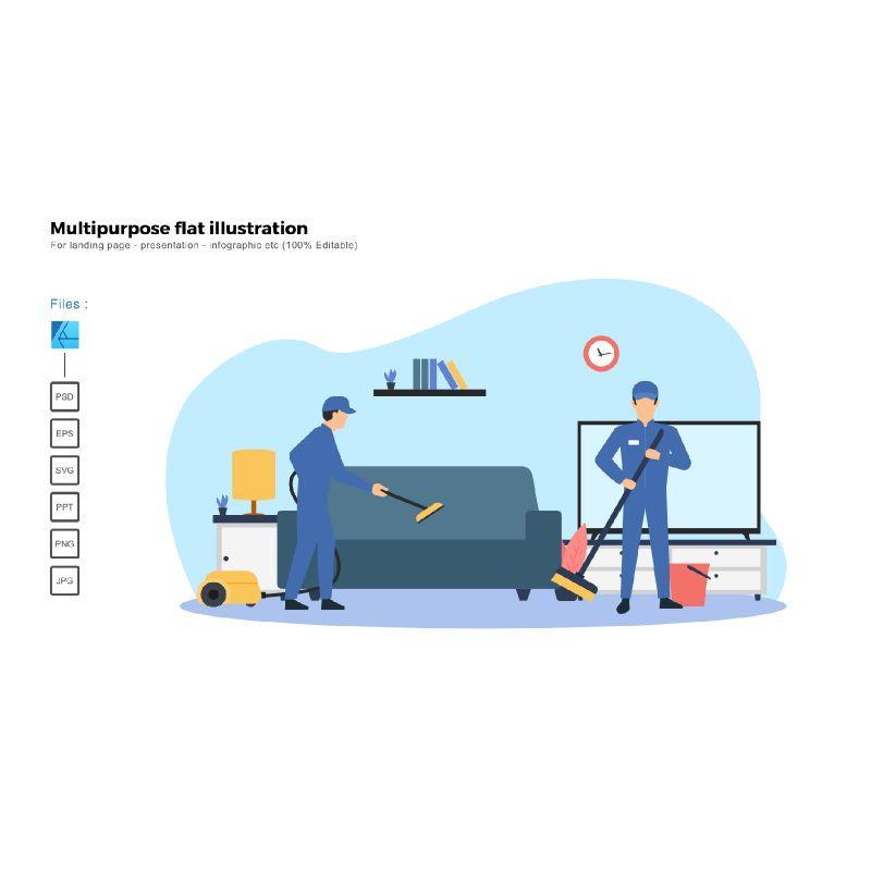 Multipurpose modern flat illustration design cleaning service, 06773, Infographics — PoweredTemplate.com