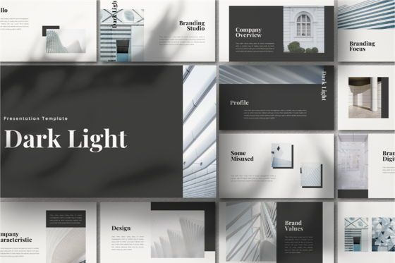 Business Models: Dark Light Powerpoint Template #06793
