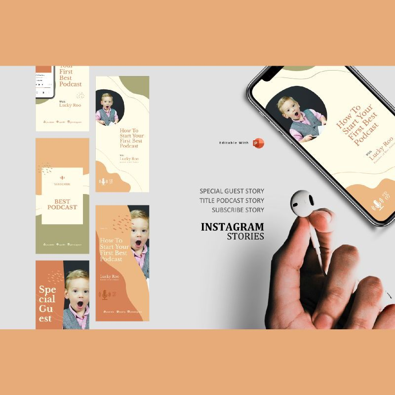Creative podcast instagram stories and post template, 06812, Infographics — PoweredTemplate.com