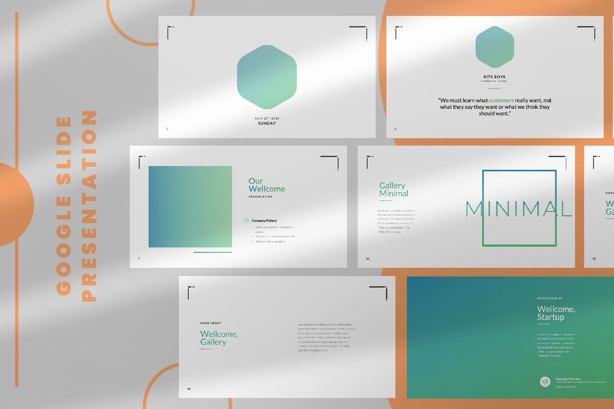 Minimal Business Google Slide, 06815, Presentation Templates — PoweredTemplate.com