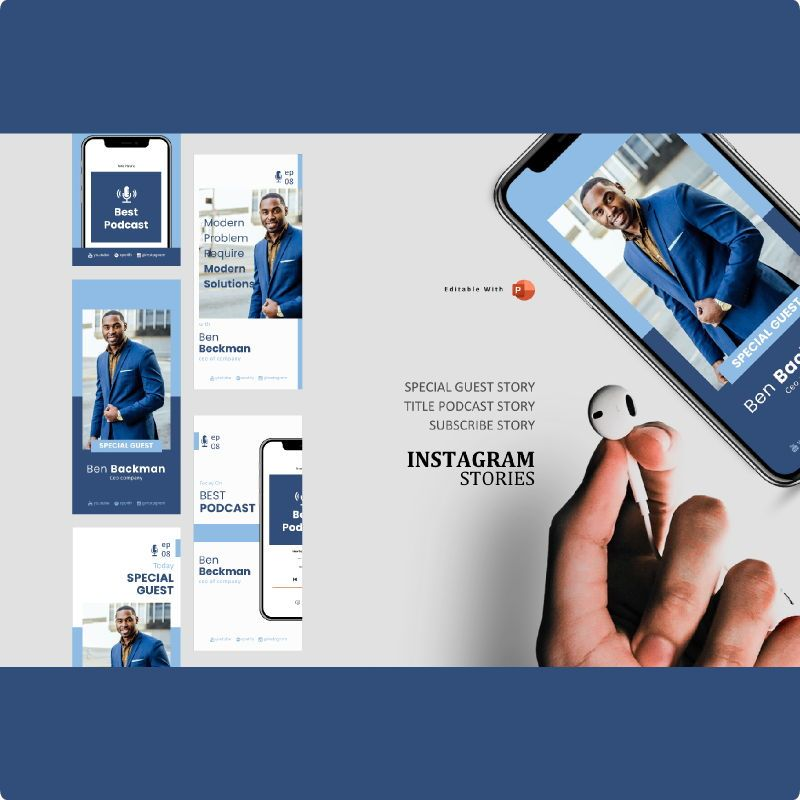 Business managing podcast instagram stories and posts template, 06816, Business Models — PoweredTemplate.com