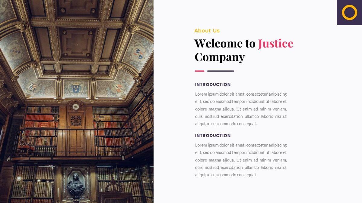 Justice – Creative Business Google Slides Template, Slide 3, 06824, Presentation Templates — PoweredTemplate.com
