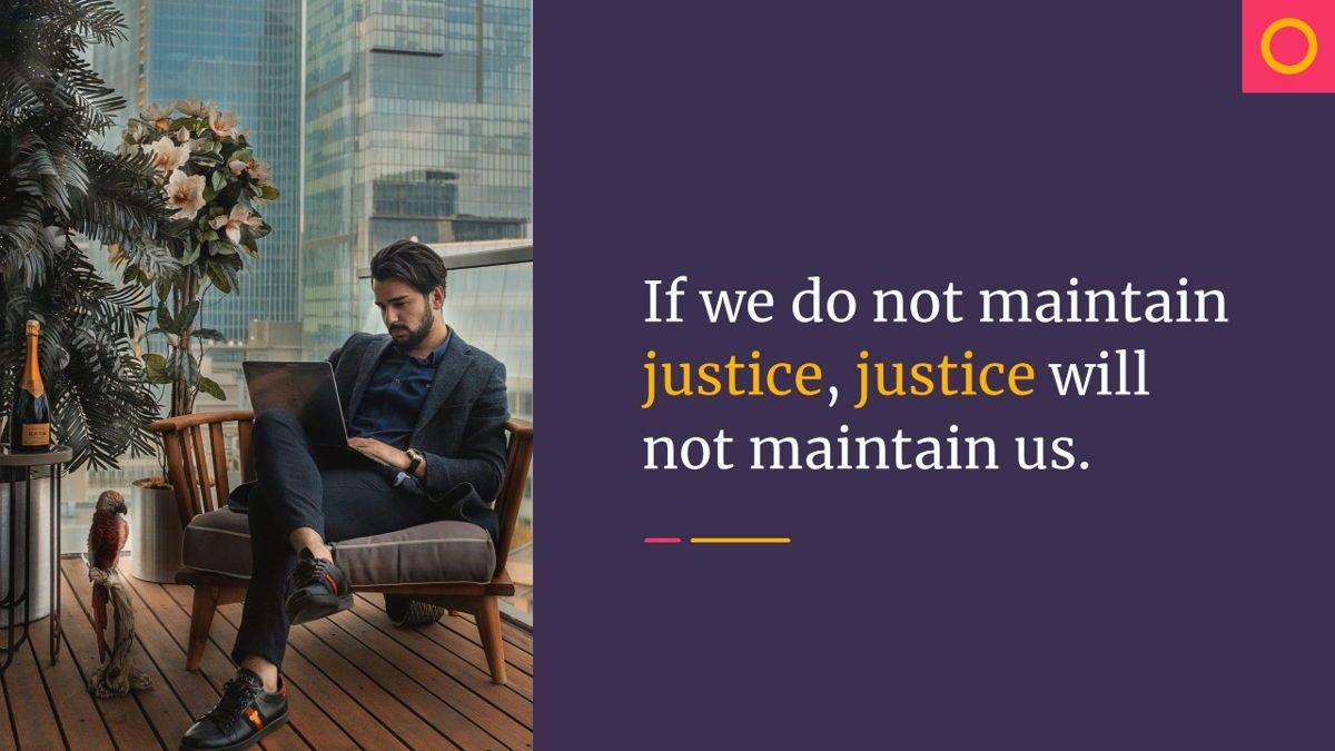 Justice – Creative Business Keynote Template, Slide 2, 06836, Presentation Templates — PoweredTemplate.com