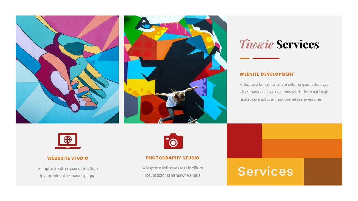 Tiwwie – Creative Business Pop Art PowerPoint Template, Slide 17, 06853, Presentation Templates — PoweredTemplate.com