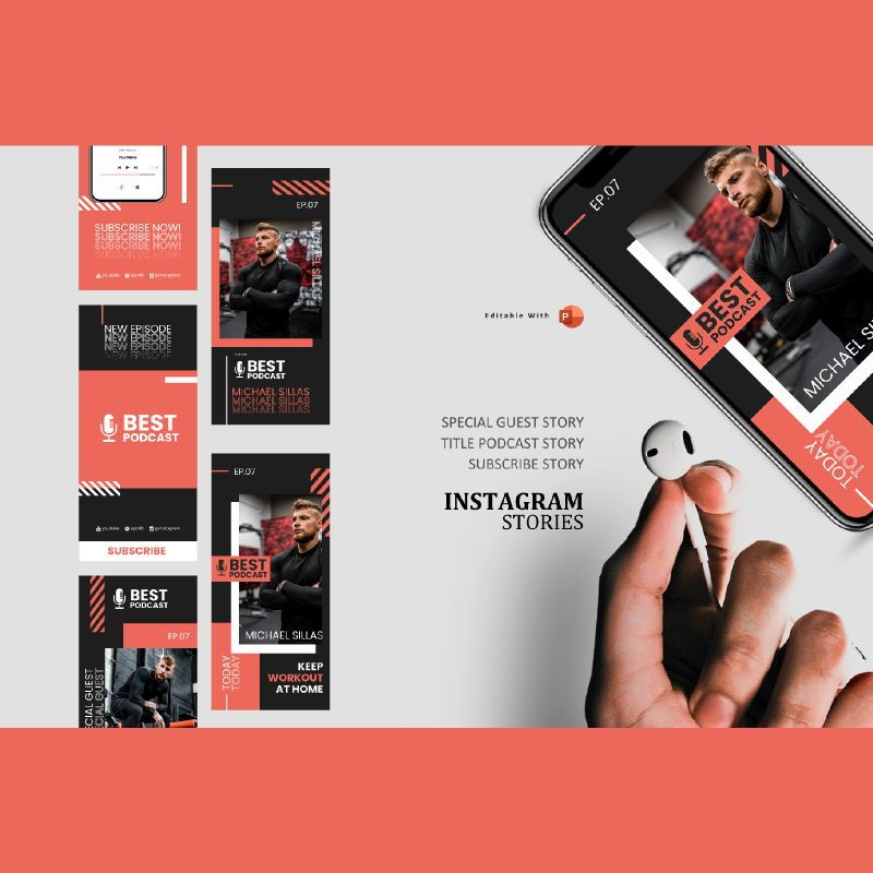 Gym man podcaster instagram stories and posts powerpoint template, 06854, Infographics — PoweredTemplate.com