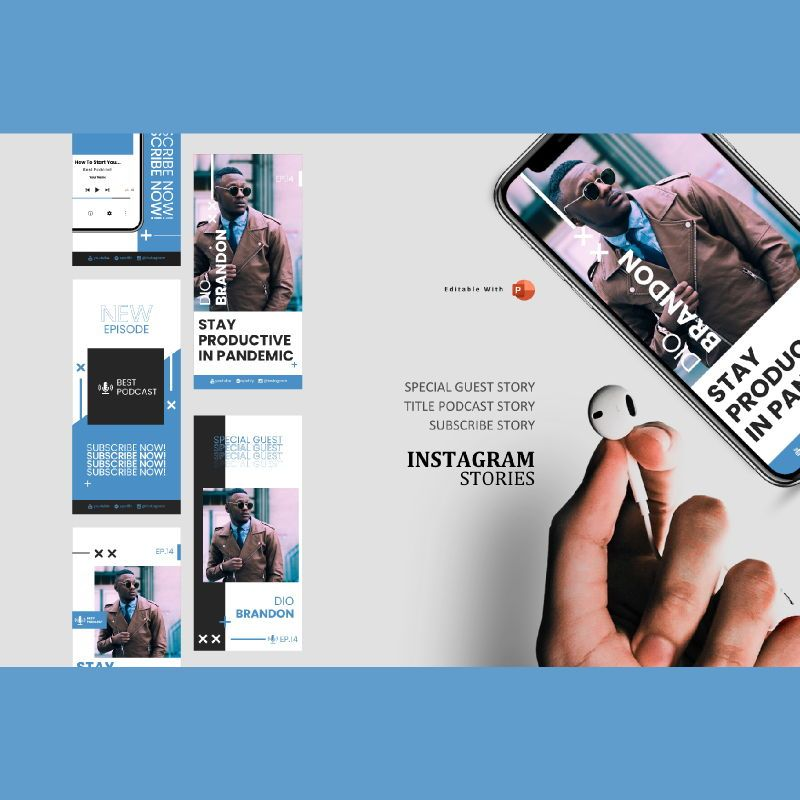 Business podcasting talk instagram stories and posts powerpoint template, 06863, Business Models — PoweredTemplate.com