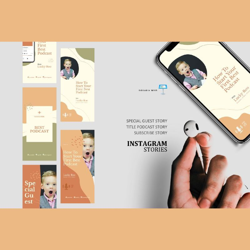 Creative podcasting talk instagram stories and posts keynote template, 06864, Infographics — PoweredTemplate.com