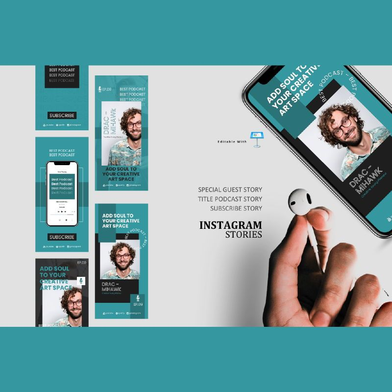 Young podcasting talk instagram stories and posts keynote template, 06866, Infographics — PoweredTemplate.com