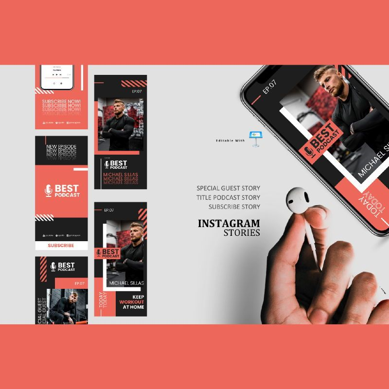 Healthcare podcasting talk instagram stories and posts keynote template, 06867, Infographics — PoweredTemplate.com