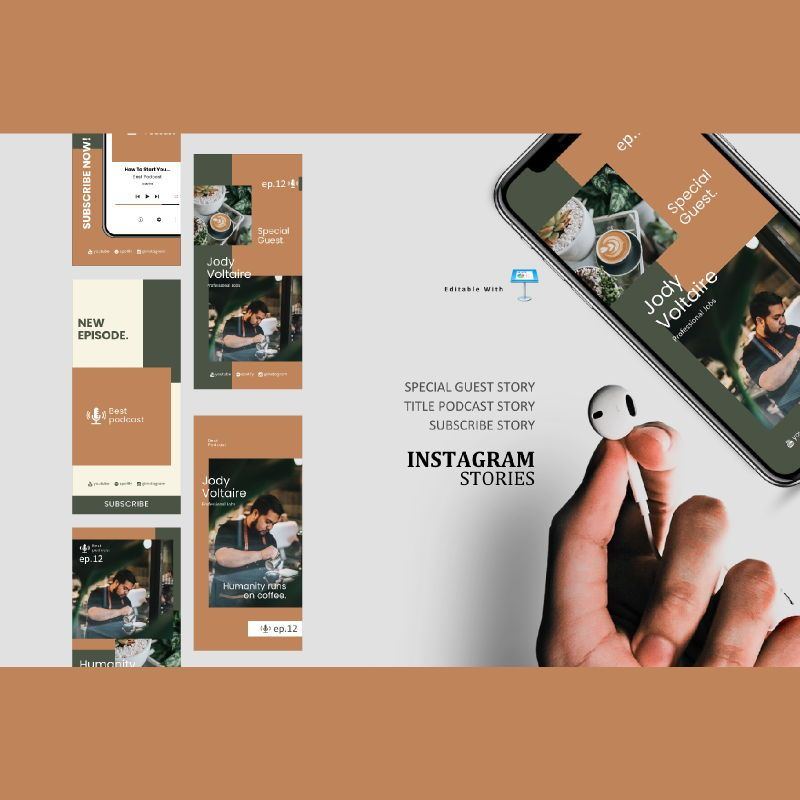 Coffee barista podcasting talk instagram stories and posts keynote template, 06868, Infographics — PoweredTemplate.com