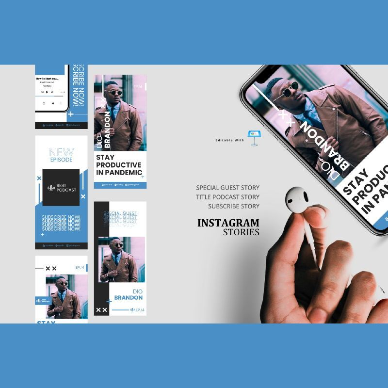 Manager podcasting talk instagram stories and posts keynote template, 06869, Infographics — PoweredTemplate.com