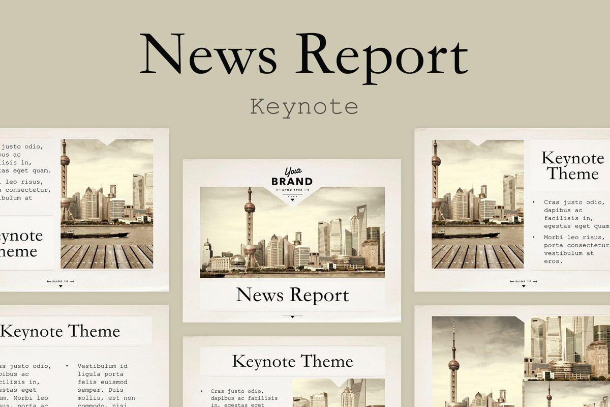 News Report Keynote Template, 06873, Presentation Templates — PoweredTemplate.com