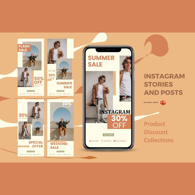 Instagram stories and posts powerpoint template - sale collection, 06876, Business Models — PoweredTemplate.com