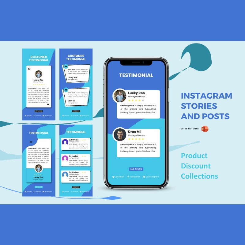 Instagram stories and posts powerpoint template - testimonial collection, 06877, Text Boxes — PoweredTemplate.com