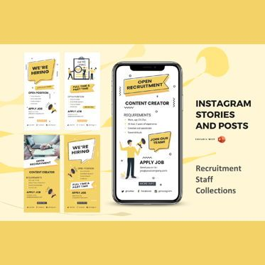 Infographics: Instagram stories and posts powerpoint template - recruitment staff collection #06878