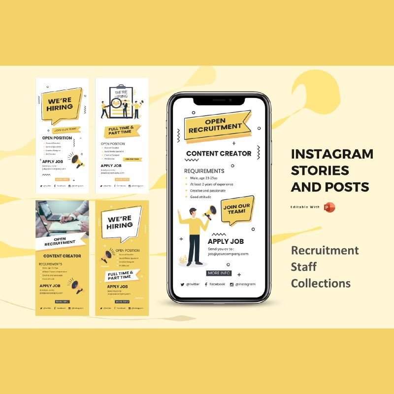Instagram stories and posts powerpoint template - recruitment staff collection, 06878, Infographics — PoweredTemplate.com
