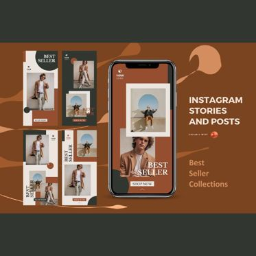 Infographics: Instagram stories and posts powerpoint template - best seller collection #06879
