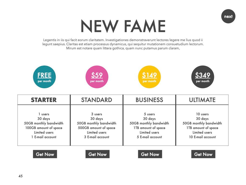New Fame Google Slides Presentation Template, Slide 41, 06881, Presentation Templates — PoweredTemplate.com