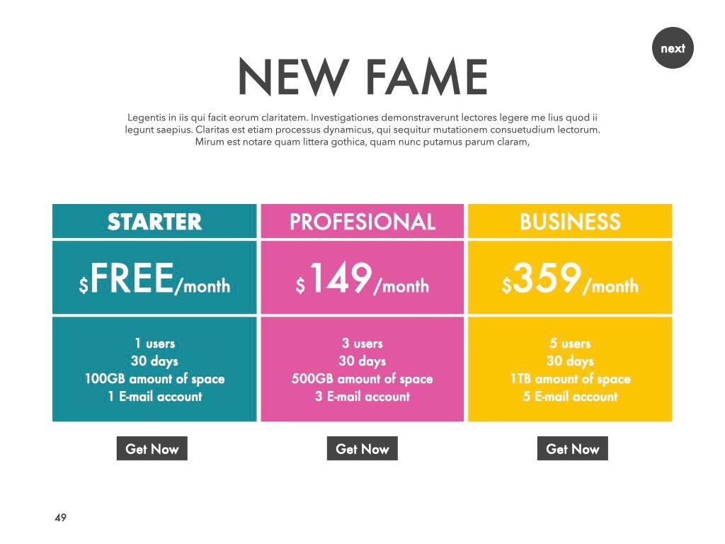 New Fame Google Slides Presentation Template, Slide 46, 06881, Presentation Templates — PoweredTemplate.com