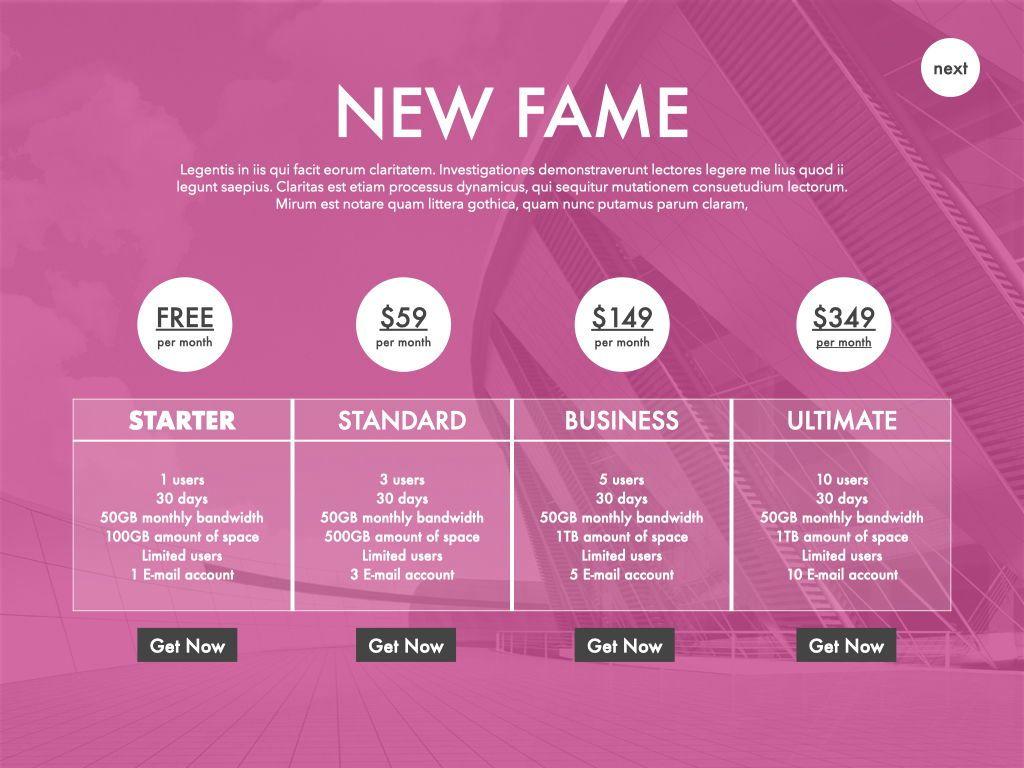 New Fame Google Slides Presentation Template, Slide 49, 06881, Presentation Templates — PoweredTemplate.com