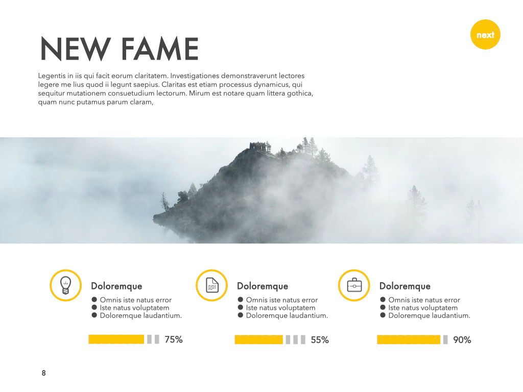 New Fame Google Slides Presentation Template, Slide 55, 06881, Presentation Templates — PoweredTemplate.com
