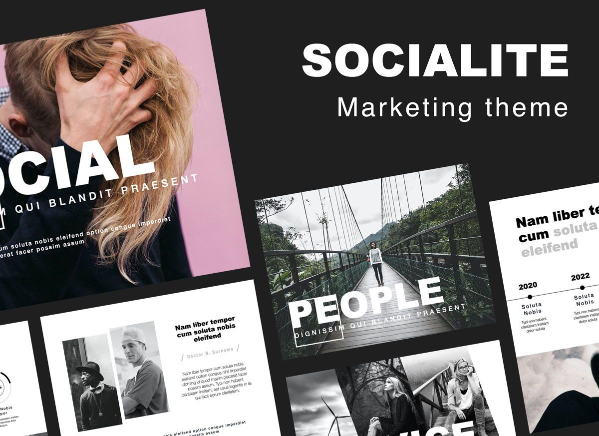 Socialite Google Slides Presentation Template, 06889, Presentation Templates — PoweredTemplate.com