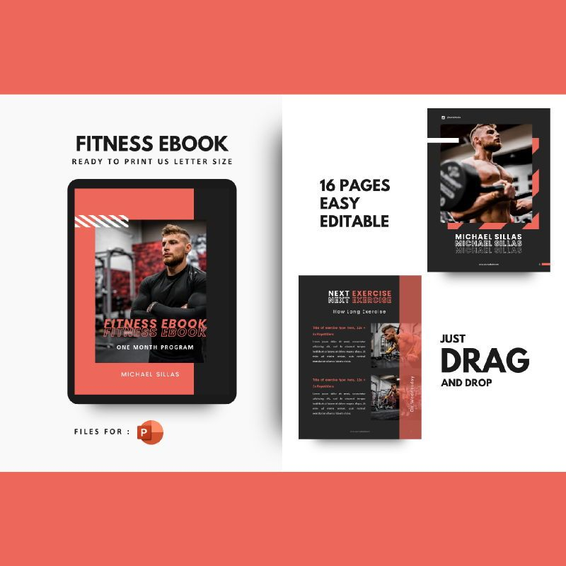 Fitness ebook meal planner powerpoint presentation template, 06894, Presentation Templates — PoweredTemplate.com