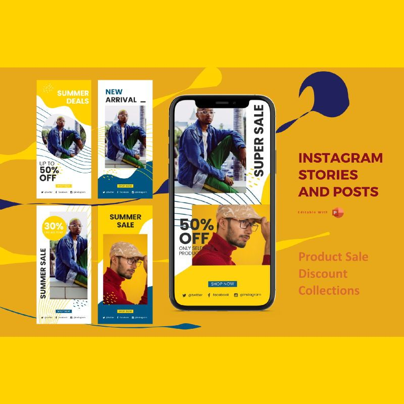 Instagram stories and posts powerpoint template - sale discount collections, 06907, Business Models — PoweredTemplate.com