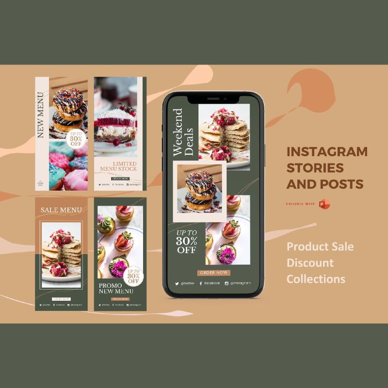 Instagram stories and posts powerpoint template - sale promo collections, 06917, Business Models — PoweredTemplate.com