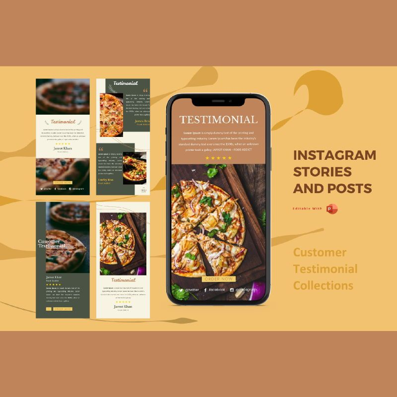 Instagram stories and posts powerpoint template - testimonial collection, 06918, Infographics — PoweredTemplate.com