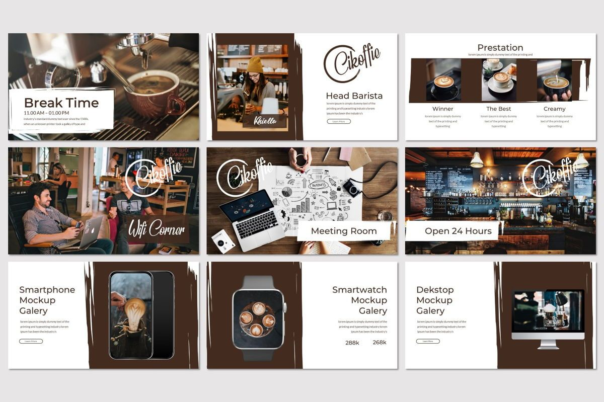 Cikoffie - PowerPoint Template, Slide 4, 06921, Presentation Templates — PoweredTemplate.com