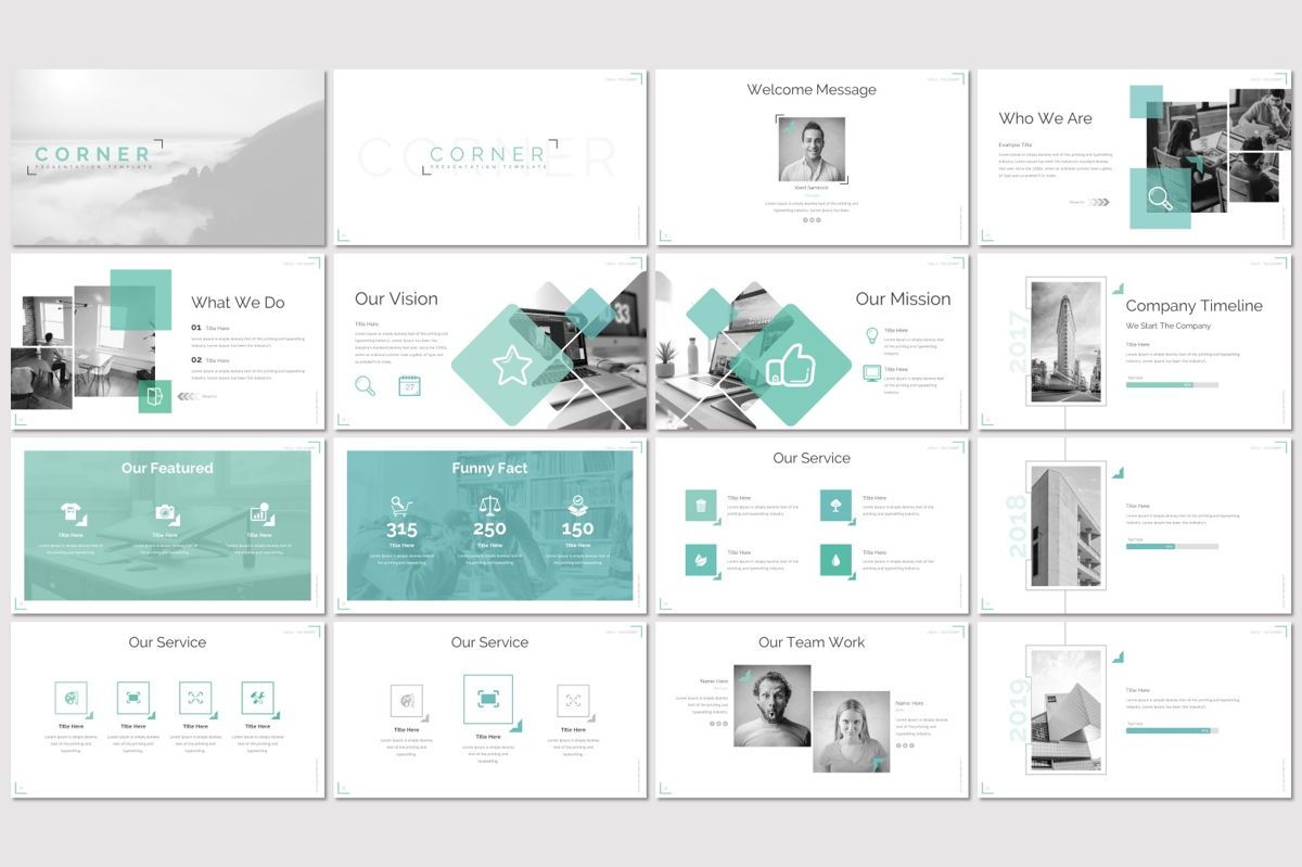 Corner - PowerPoint Template, Slide 2, 06922, Infographics — PoweredTemplate.com