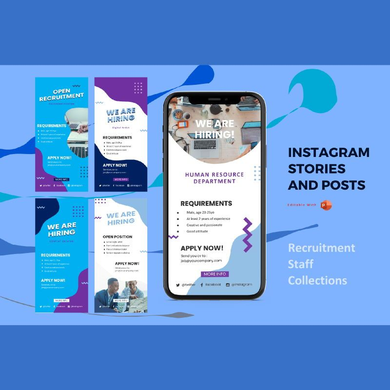 Instagram stories and posts powerpoint template - recruitment collection, 06933, Infographics — PoweredTemplate.com