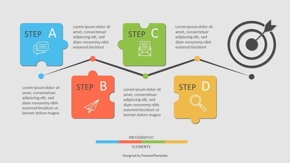 Four Puzzle Step Goal Infographic, 06944, Infographics — PoweredTemplate.com