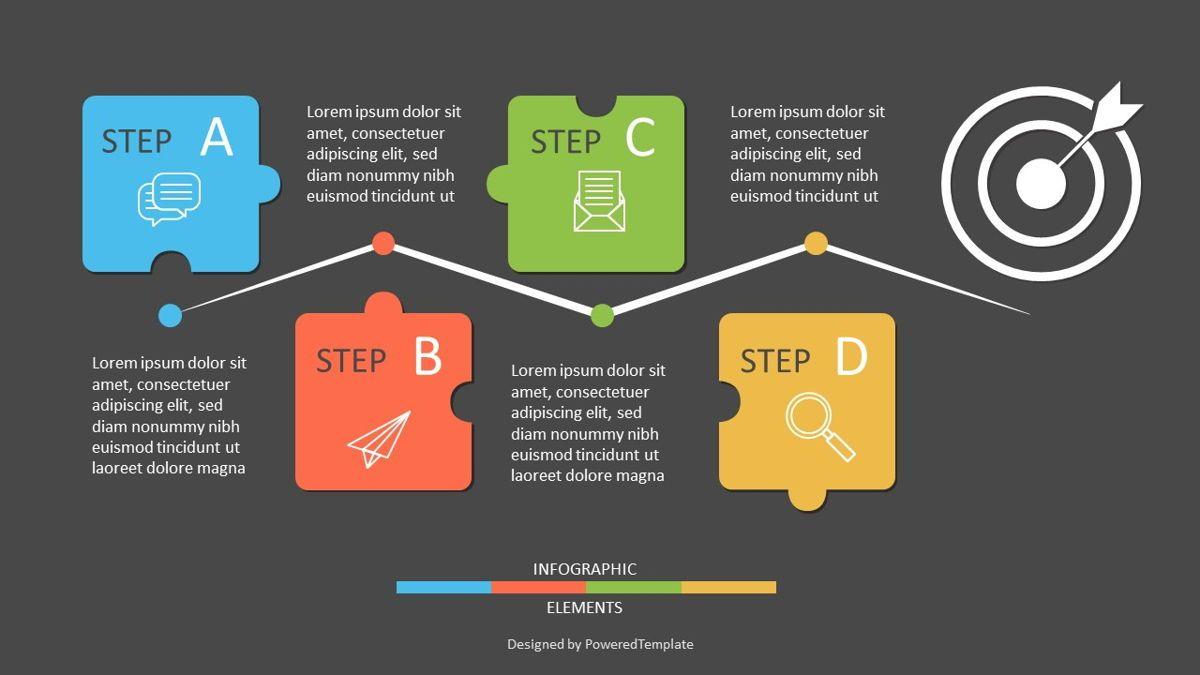 Four Puzzle Step Goal Infographic, Slide 2, 06944, Infographics — PoweredTemplate.com