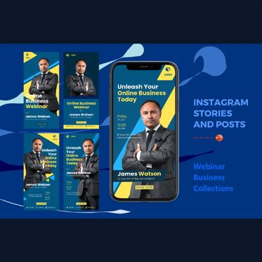 Business Models: Instagram stories and posts powerpoint template - webinar collections #06949