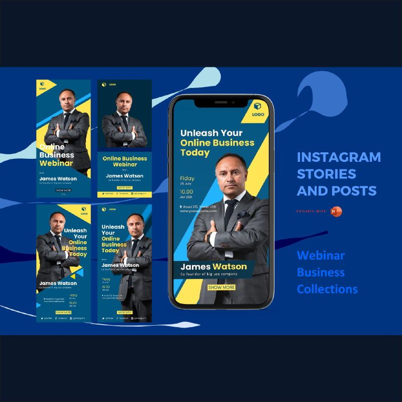 Instagram stories and posts powerpoint template - webinar collections, 06949, Business Models — PoweredTemplate.com