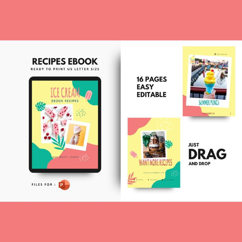 Recipe ebook ice cream powerpoint presentation templates, 06950, Presentation Templates — PoweredTemplate.com
