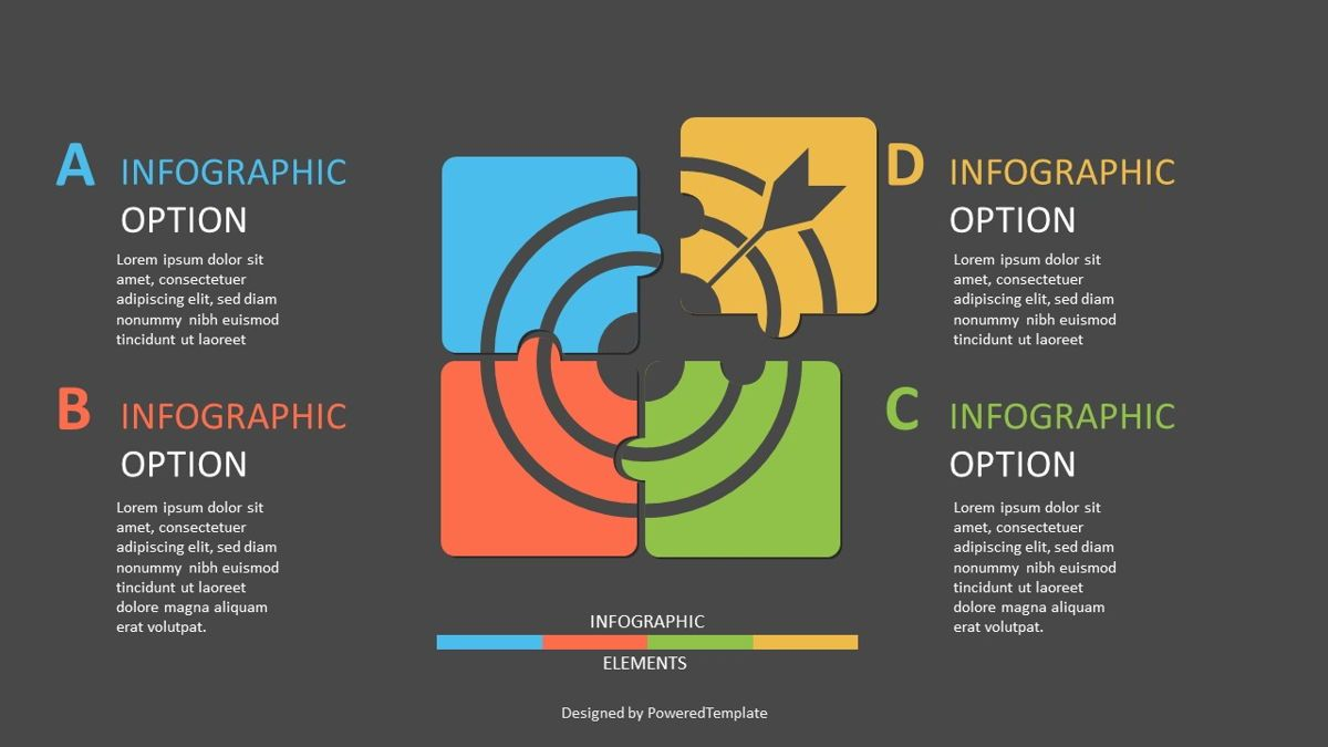 Four Puzzle Pieces Target Infographic, Slide 2, 06957, Infographics — PoweredTemplate.com