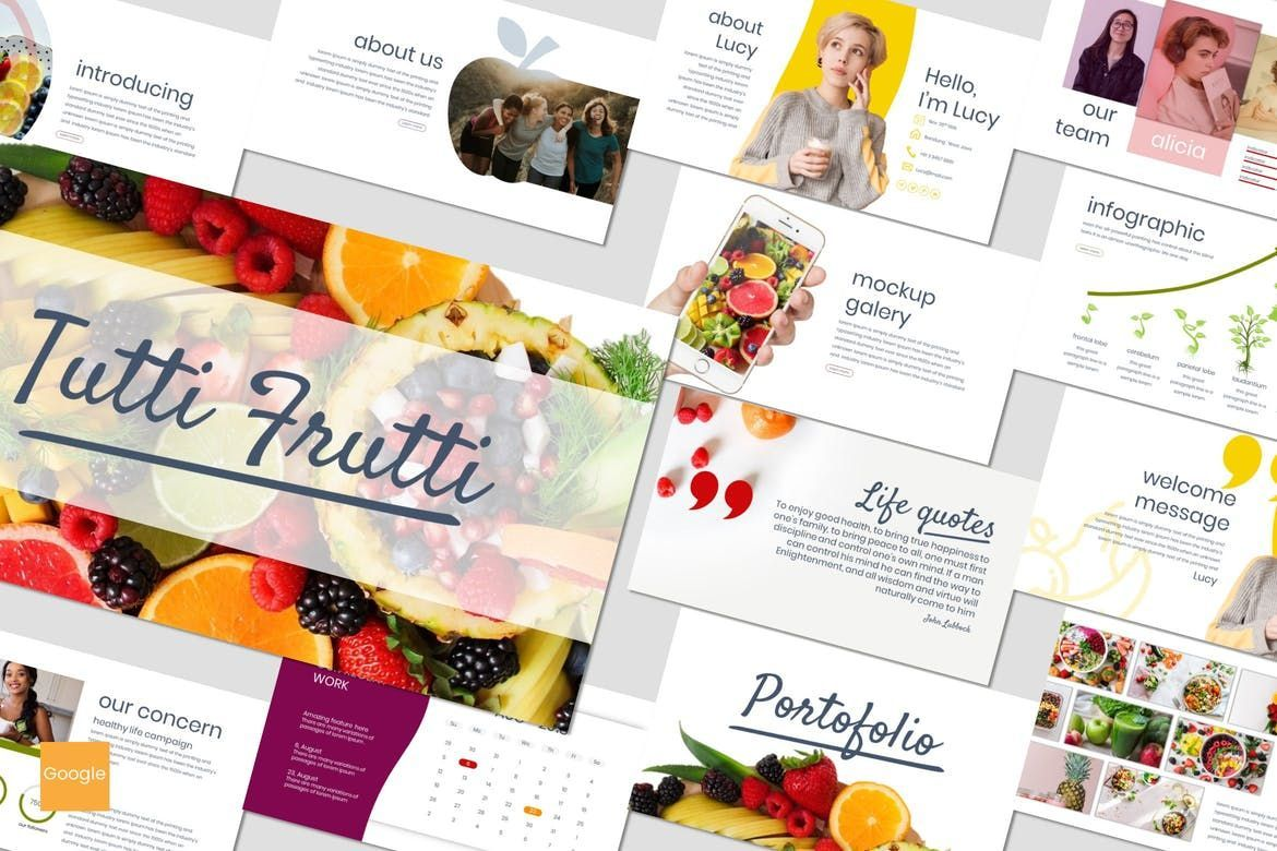 Tutti Frutti - Google Slides Template, 06962, Presentation Templates — PoweredTemplate.com