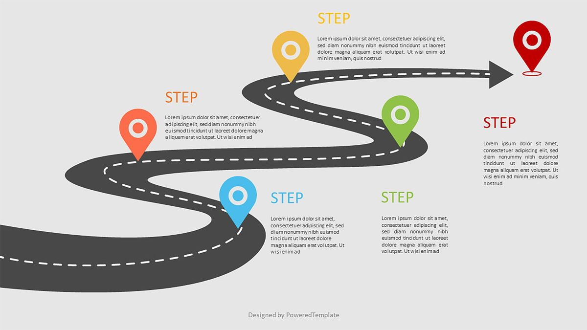 Road Way Infographic with Options, 06973, Business Models — PoweredTemplate.com