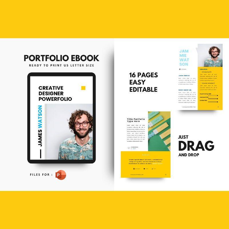 Graphic designer portfolio ebook powerpoint presentation templates, 06980, Presentation Templates — PoweredTemplate.com