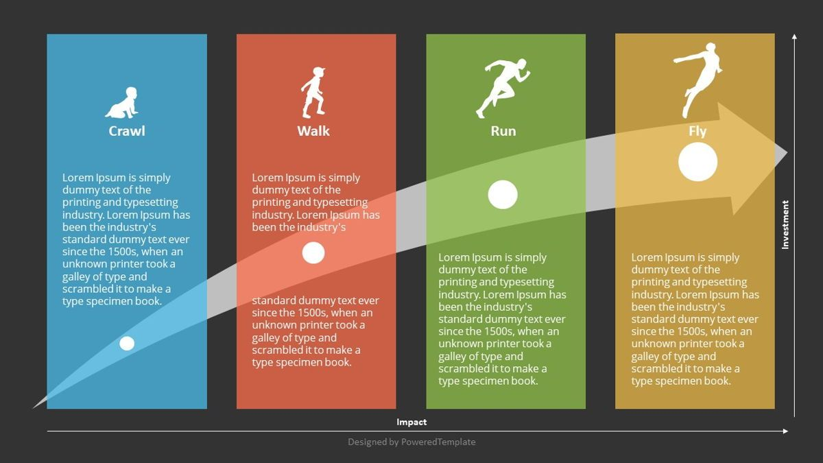 Crawl Walk Run Fly Concept, Slide 2, 06989, Business Models — PoweredTemplate.com