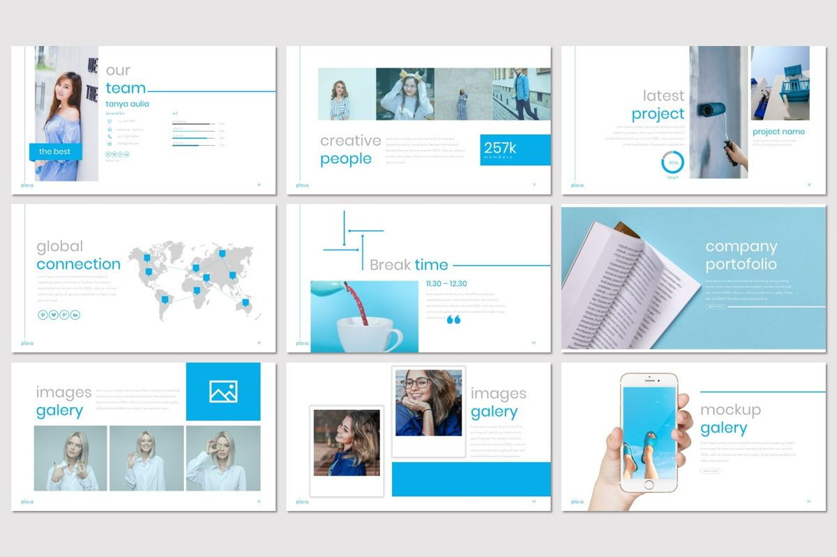 Plava - PowerPoint Template, Slide 4, 06998, Presentation Templates — PoweredTemplate.com
