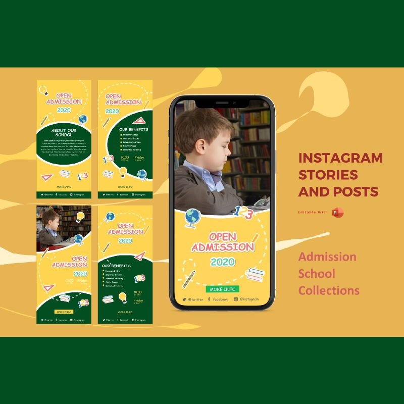 Instagram stories and posts powerpoint template - open admission 2020 collections, 07001, Education Charts and Diagrams — PoweredTemplate.com