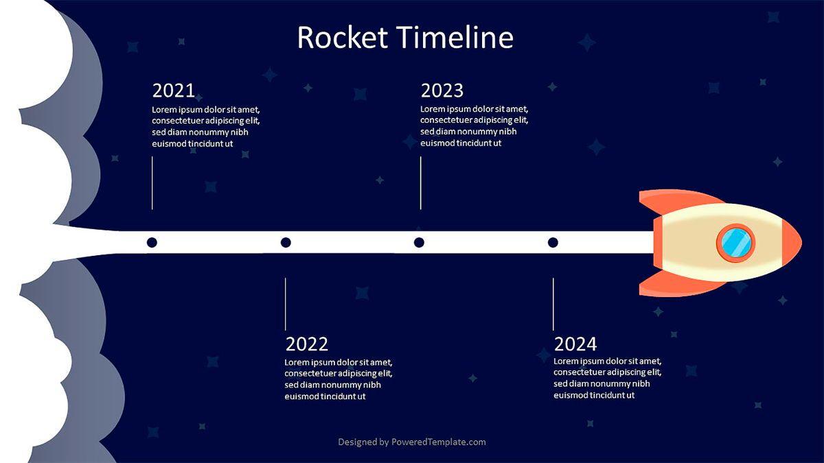 Rocket in Space Timeline, 07004, Shapes — PoweredTemplate.com