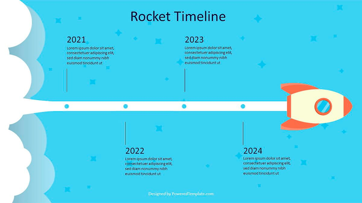 Rocket in Space Timeline, Slide 2, 07004, Shapes — PoweredTemplate.com