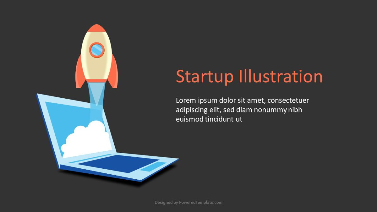 Startup Slide with Rocket Launch, 07015, Infographics — PoweredTemplate.com