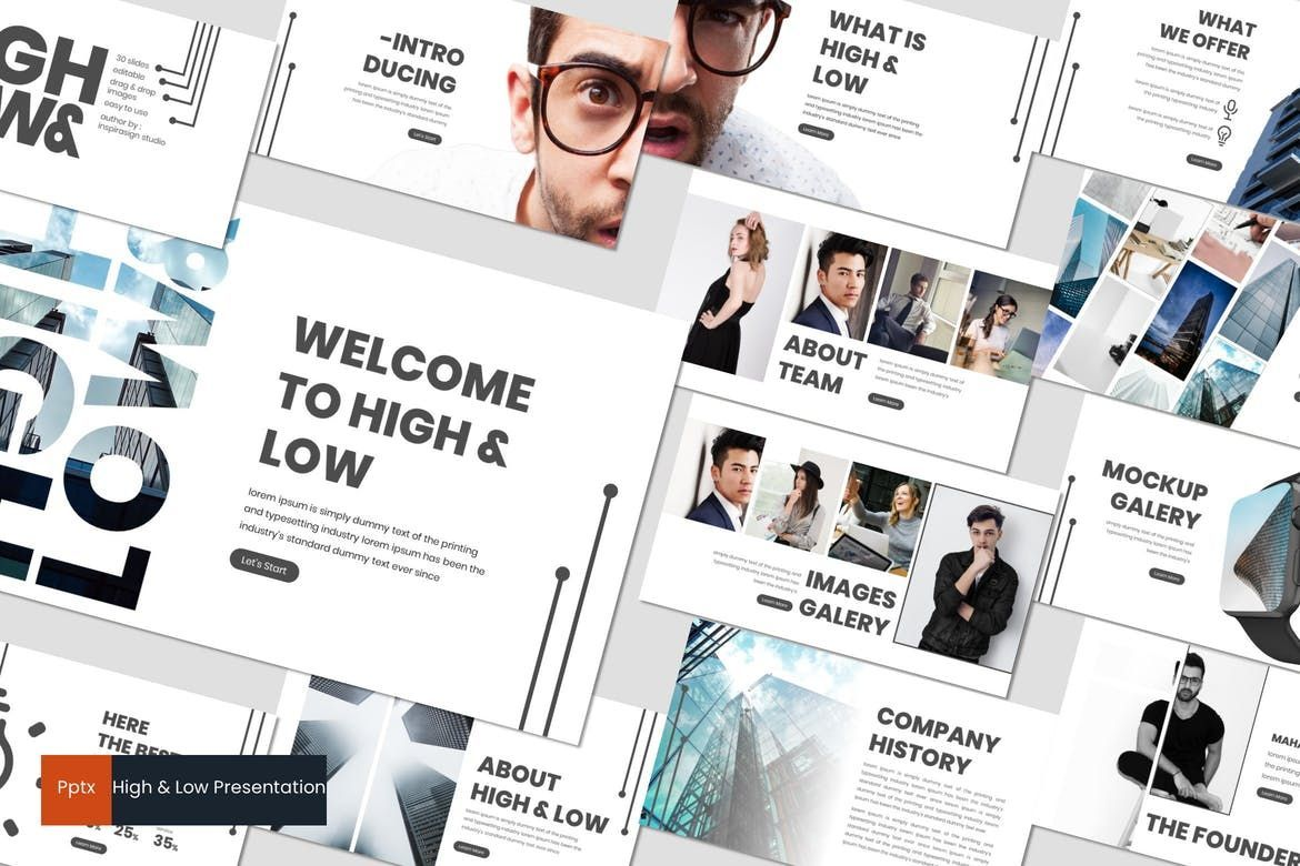 High and Low - PowerPoint Template, 07019, Presentation Templates — PoweredTemplate.com