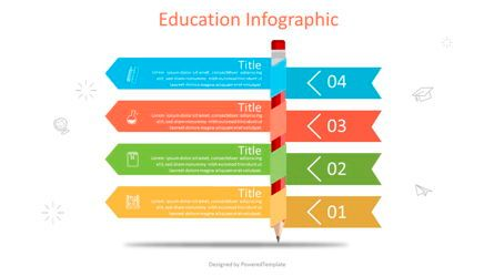 Education Charts and Diagrams: Pencil with Four Options Infographic #07025